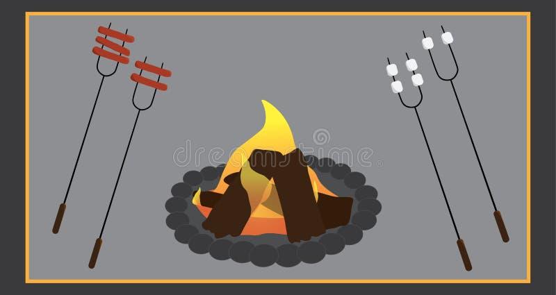Campingowi kulinarni wizerunki royalty ilustracja