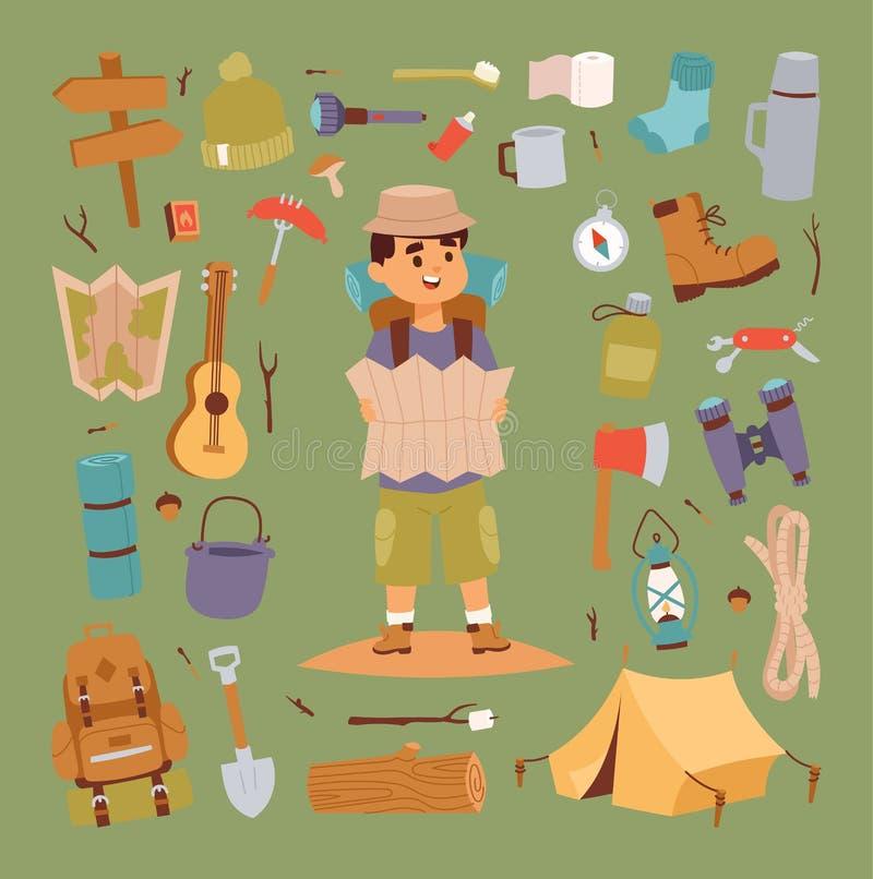 Campingowi majchery w ręka rysującym stylowym wektorowym charakterze ilustracja wektor