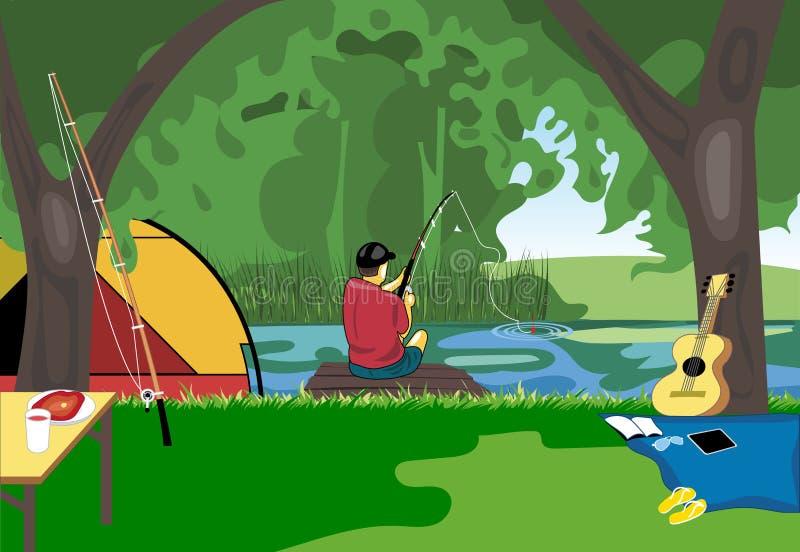 Campingowy dnia świętowanie, rzeczny połów z namiotem po środku dzikiej natury ilustracji