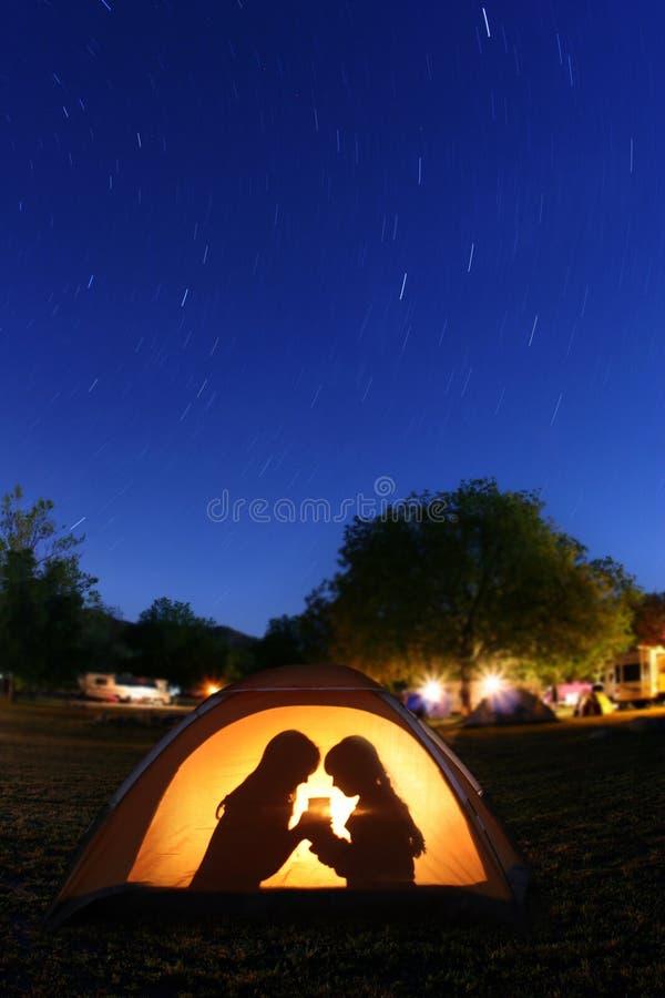 campingowy dzieci noc namiot obrazy stock