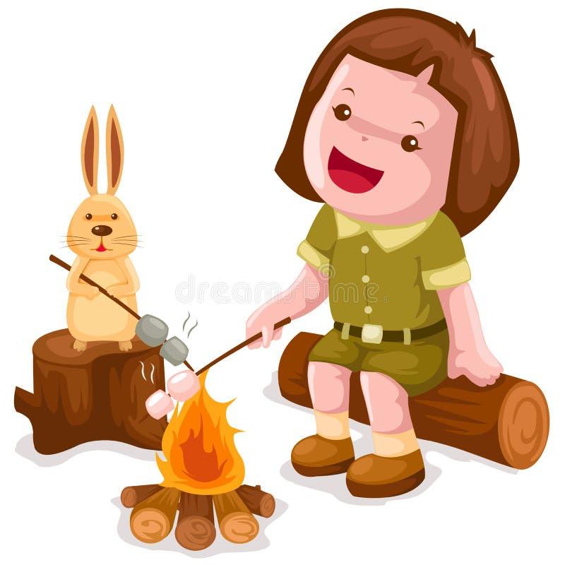 campingowy dziewczyny marshmallow prażak royalty ilustracja