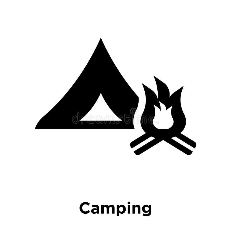 Campingowy ikona wektor odizolowywający na białym tle, loga pojęcie o royalty ilustracja