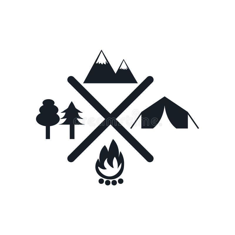 Campingowy ikona wektoru znak i symbol odizolowywający na białym tle, Campingowy logo pojęcie ilustracji