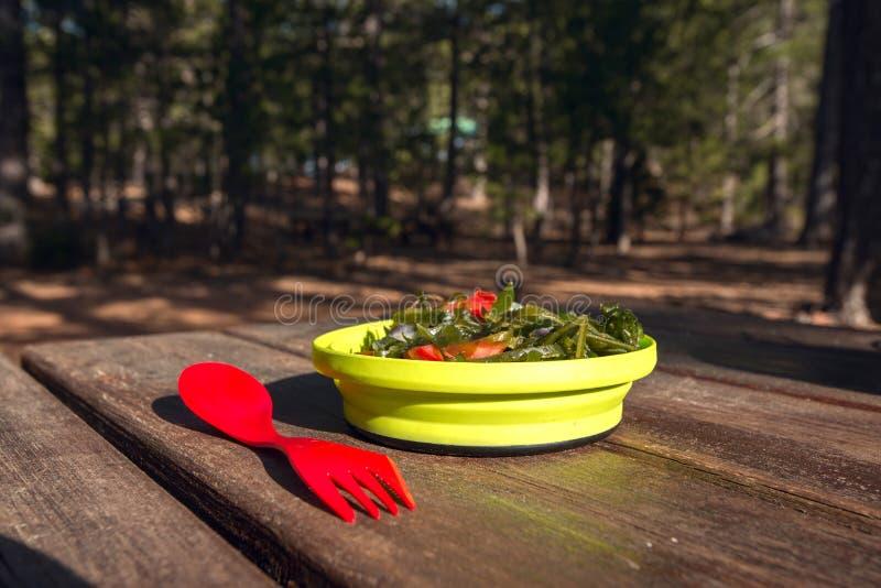 campingowy jedzenie świeże sałatkowy wegetarianin fotografia royalty free