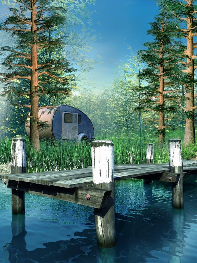 campingowy jeziorny miejsce royalty ilustracja