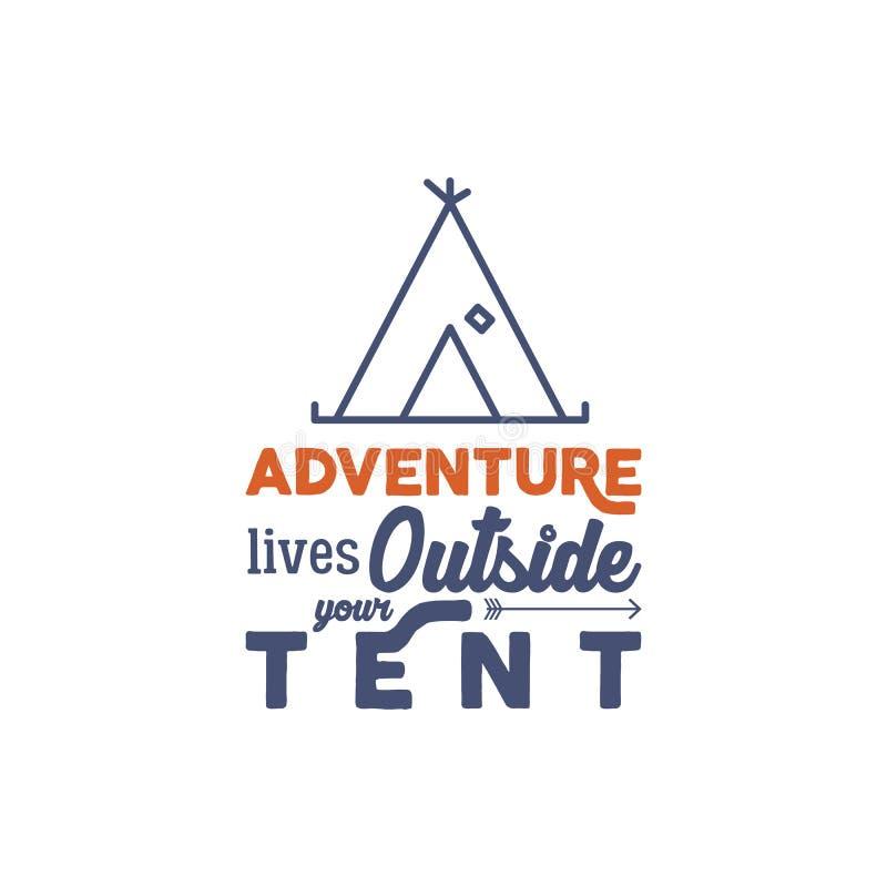Campingowy logo z typografii mówić i liniowi podróż elementami - namiot Przygoda styl dla trójnika projekta, odzież, t koszula ilustracji