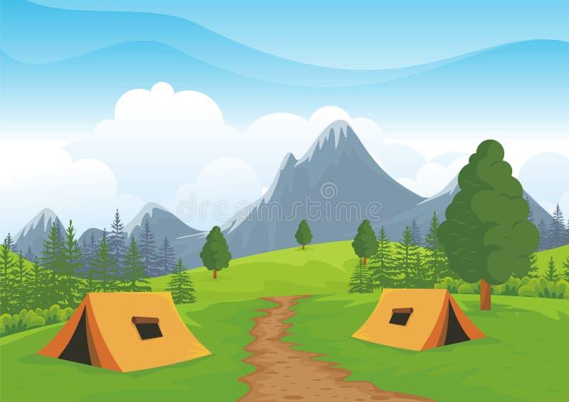 Campingowy miejsce z pięknym natura krajobrazem ilustracji
