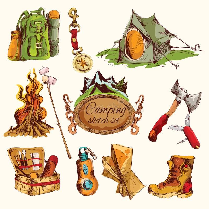 Campingowy nakreślenie ustawiający barwiącym ilustracja wektor