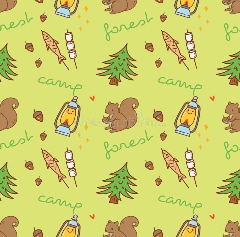 Campingowy o temacie bezszwowy tło z wiewiórką royalty ilustracja