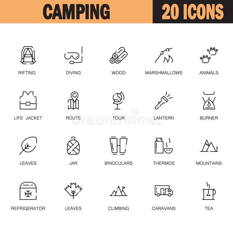Campingowy Płaski ikona set royalty ilustracja