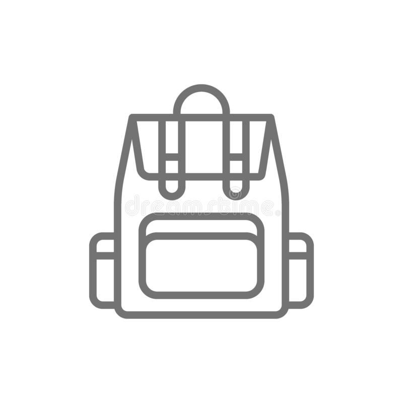 Campingowy plecak, turystyczna plecak linii ikona royalty ilustracja