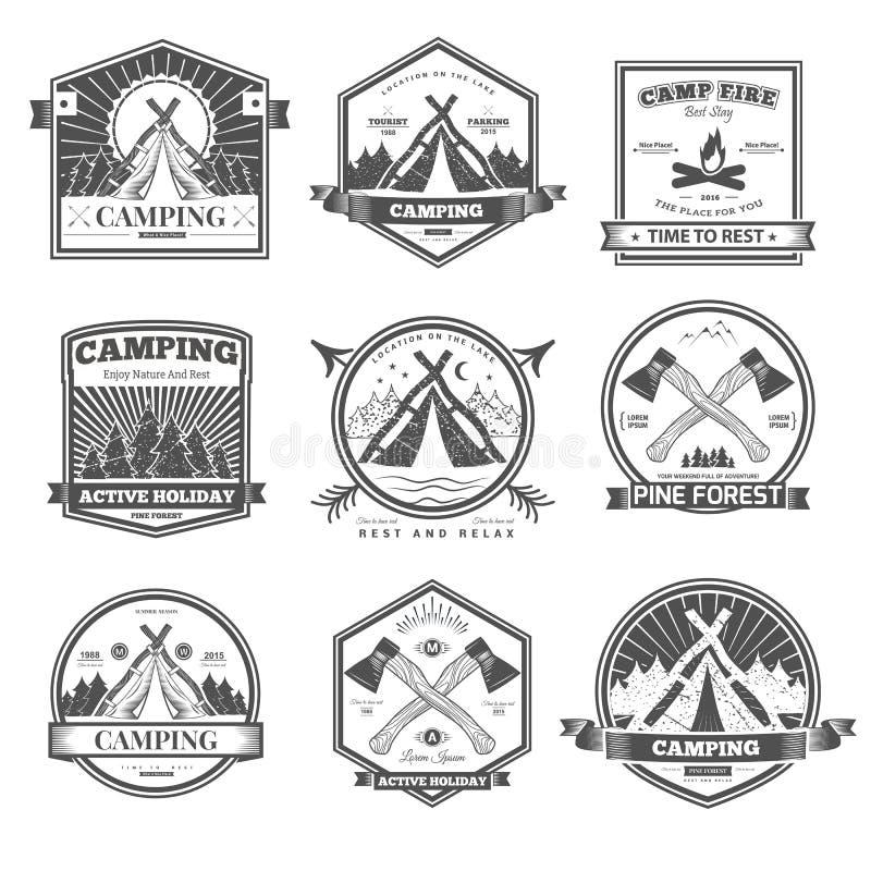 Campingowy retro wektorowy logo royalty ilustracja