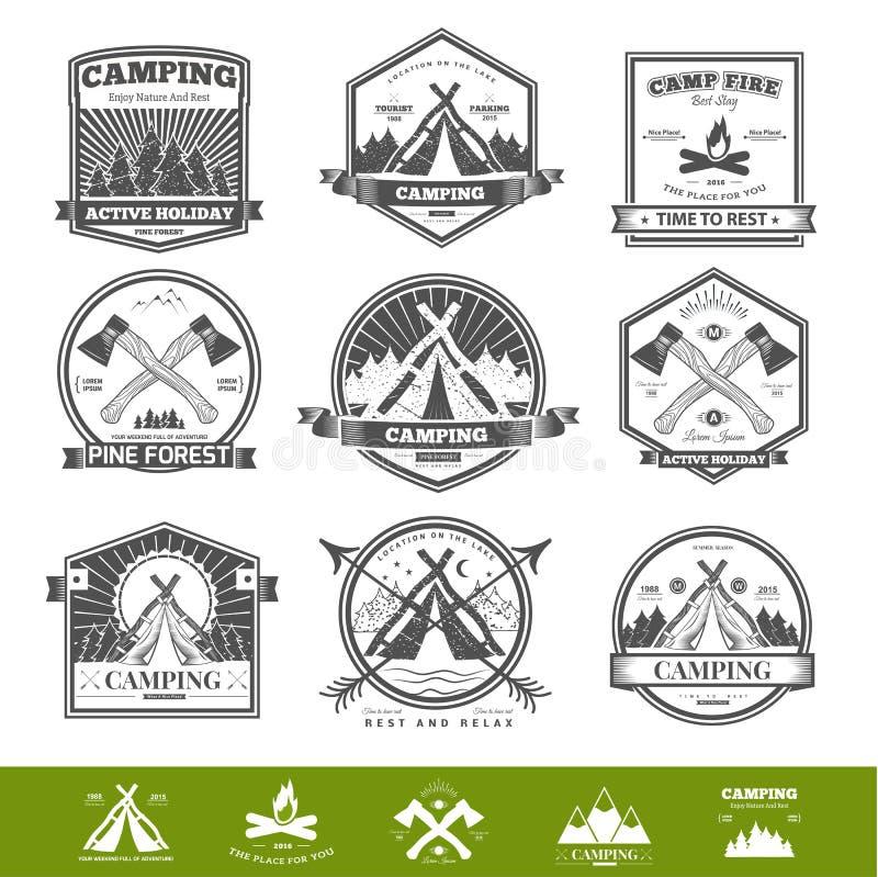 Campingowy retro wektorowy logo ilustracja wektor