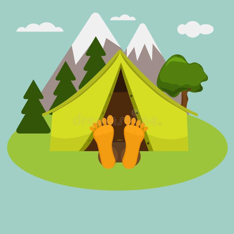 Campingowy weekendowy ranek Mężczyzna śpi w namiocie ilustracji