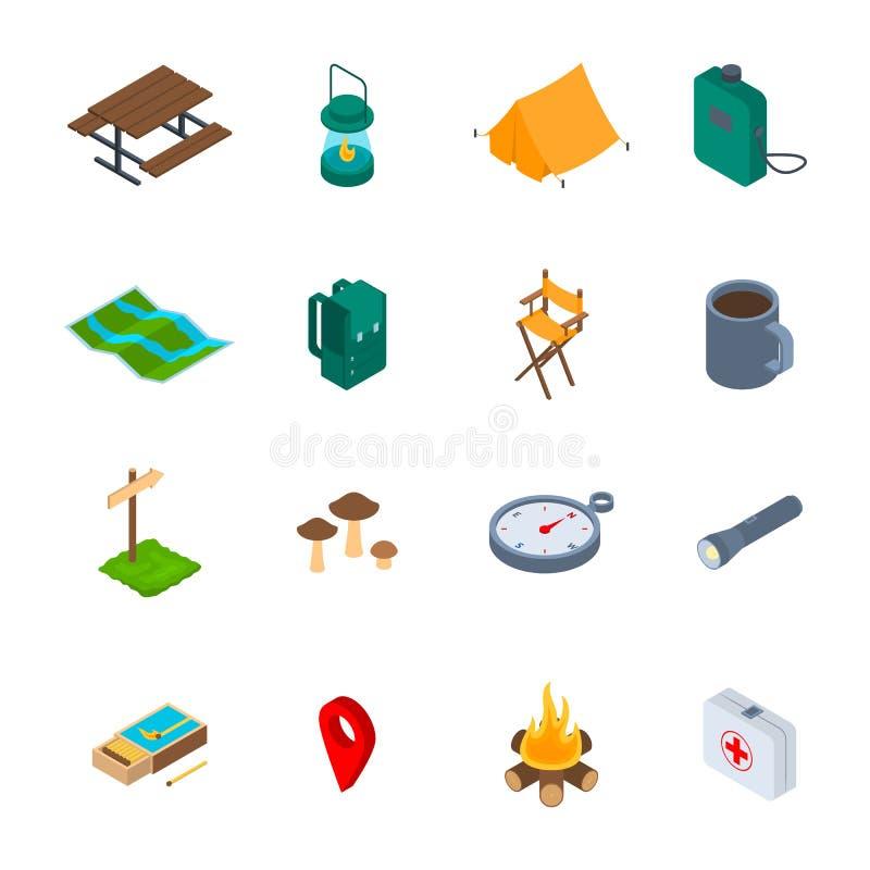 Campingowy Wycieczkuje Szyldowej 3d ikony Ustalony Isometric widok wektor royalty ilustracja