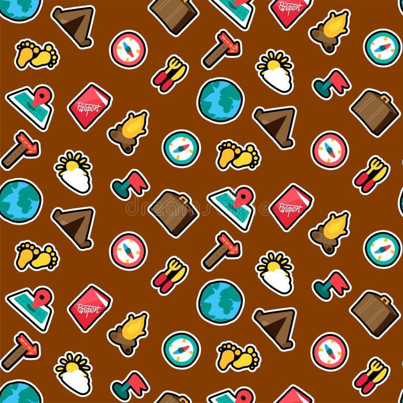 Campingowych majcherów koloru wektoru bezszwowy wzór ilustracja wektor