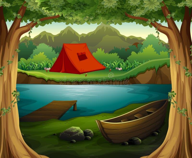 Campingplats stock illustrationer