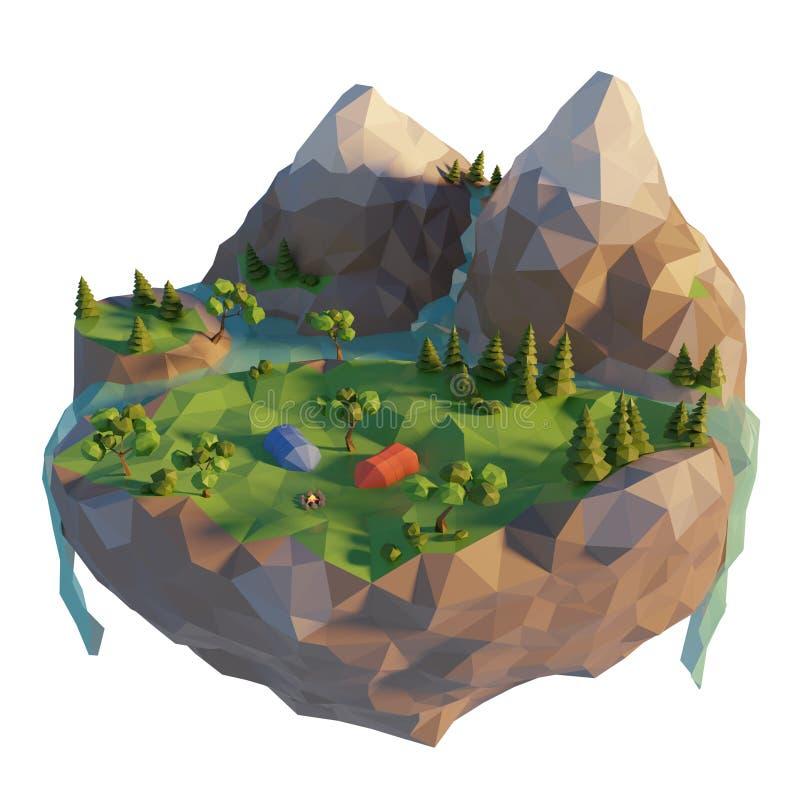Campingplats ett t?lt, brasa n?ra floden Campa l?gt poly landskap f?r ? med berget Sommartidbegrepp 3d framf?r vektor illustrationer
