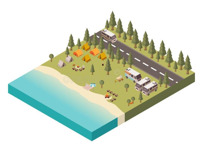 Campingplats med den isometriska illustrationen för väg vektor illustrationer