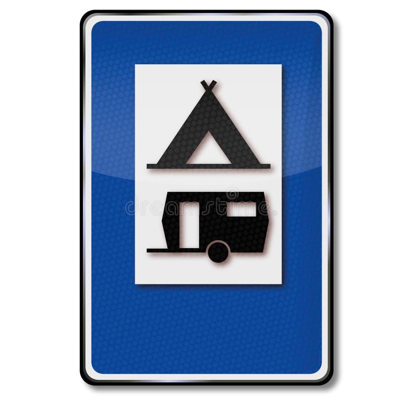 Campingplats, tält och husvagnar stock illustrationer