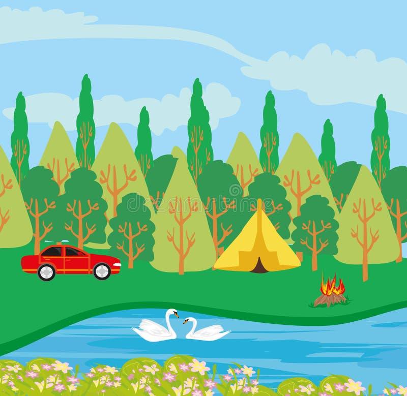 Campingplats vid floden royaltyfri illustrationer