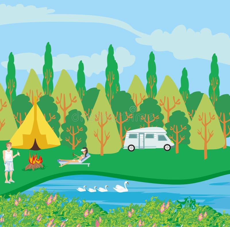 Campingplats vid floden stock illustrationer