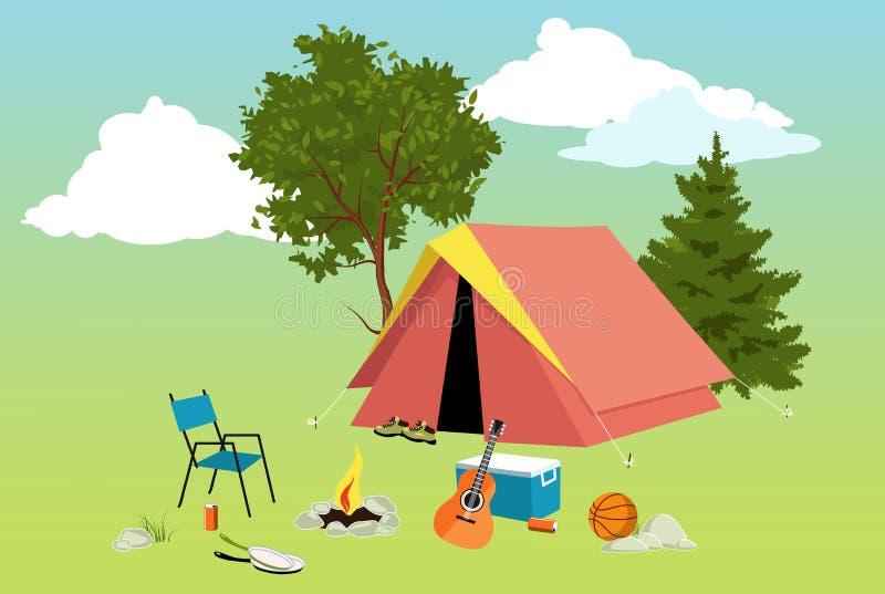 Campingplatz lizenzfreie abbildung