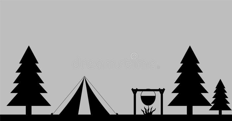 Campingplatz in Forest Silhouette Logo lizenzfreie abbildung