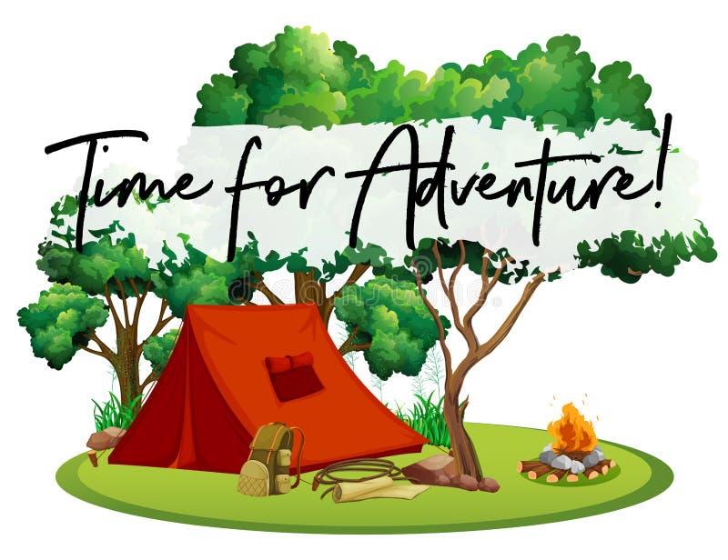 Campingplatz mit Phrasenzeit für Abenteuer vektor abbildung