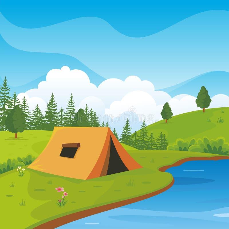 Campingplatz mit schöner Naturlandschaft vektor abbildung