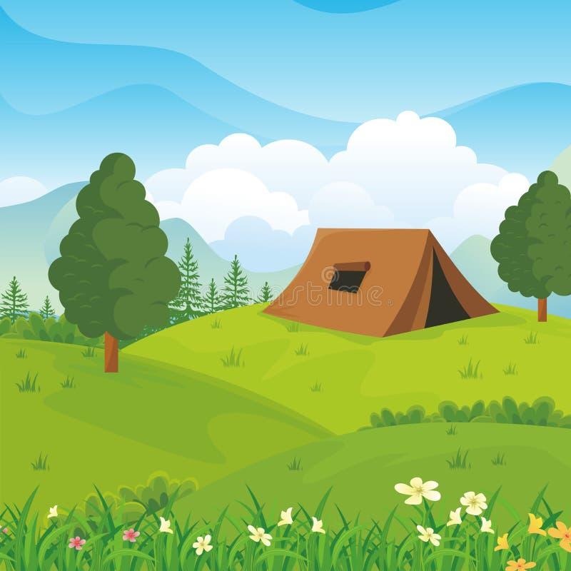 Campingplatz mit schöner Naturlandschaft lizenzfreie abbildung