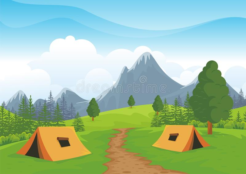 Campingplatz mit schöner Naturlandschaft stock abbildung