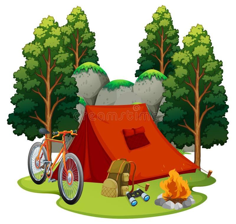 Campingplatz mit Zelt und Lagerfeuer lizenzfreie abbildung