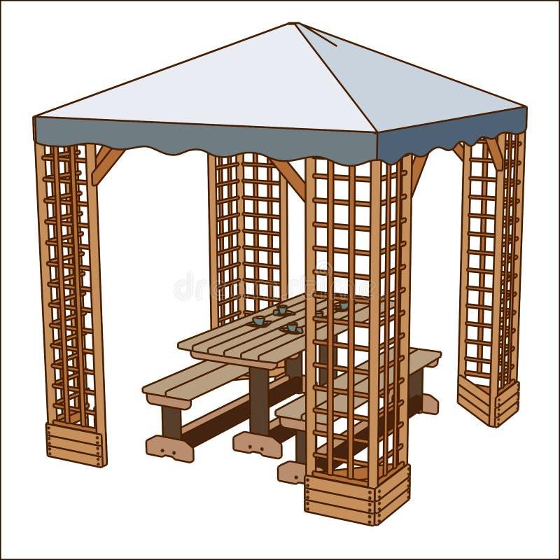 Campingtisch- und Stuhlvektorsatz Leere flache Art der Sommerpicknickfreizeitkarikatur-Möbel Naturausrüstungsferien vektor abbildung