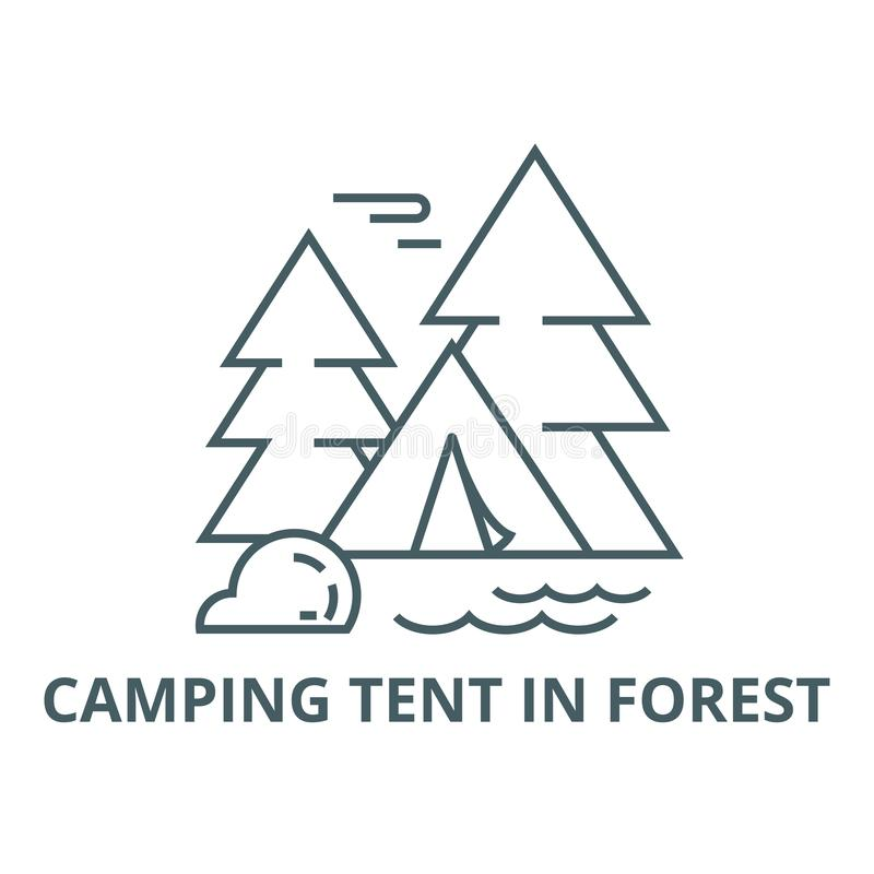 Campingzelt in der Waldlinie Ikone, Vektor Campingzelt im Waldentwurfszeichen, Konzeptsymbol, flache Illustration stock abbildung