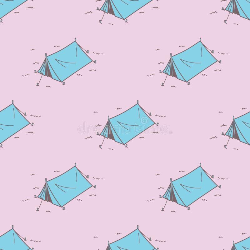 Campingzelt-Picknick-nahtloses Muster-Vektortapeten-Hintergrundrosa stock abbildung
