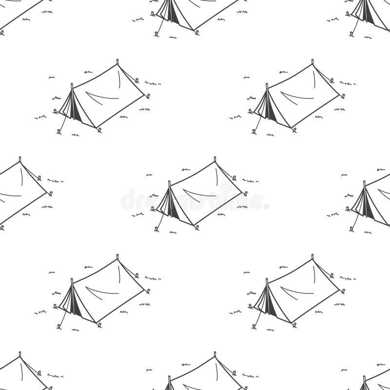 Campingzelt-Picknick-nahtloses Muster-Vektortapeten-Hintergrundweiß stock abbildung