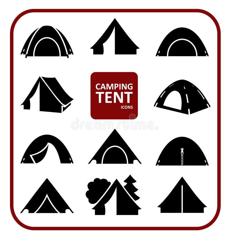 Campingzeltikonen eingestellt stock abbildung