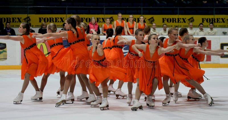 Campionati finlandesi 2010 - pattinare sincronizzato immagini stock
