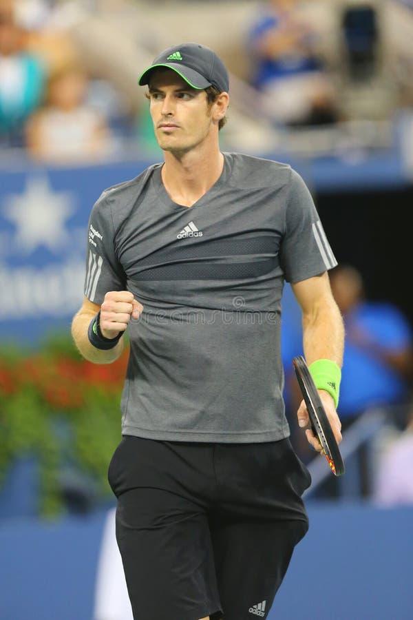 Campione Andy Murray del Grande Slam durante la partita 2014 di quarto di finale di US Open contro Novak Djokovic fotografia stock libera da diritti
