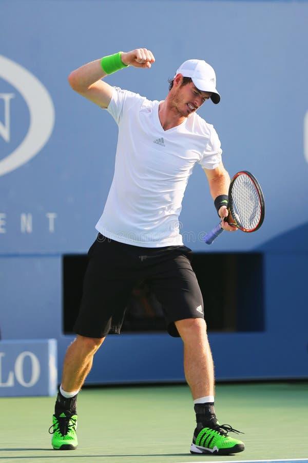 Campione Andy Murray del Grande Slam durante la partita rotonda 4 di US Open 2014 contro Jo-Wilfried Tsonga fotografia stock libera da diritti