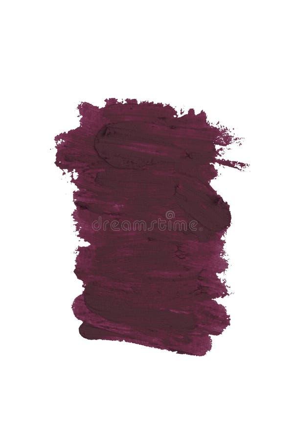 Campione cosmetico malva del colpo di colore del rossetto della matita, prodotto di bellezza isolato su fondo bianco fotografia stock