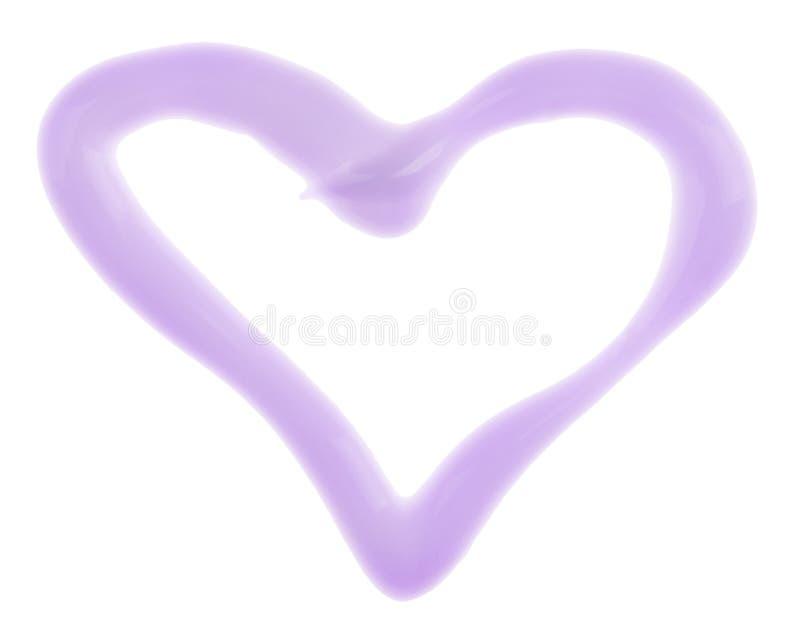 Campione (crema) a forma di del moisturizer del cuore fotografia stock
