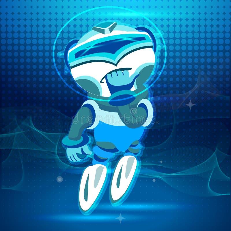 Campione del Bot Elevazione in su Progettazione di Digital nello stile del fumetto illustrazione di stock