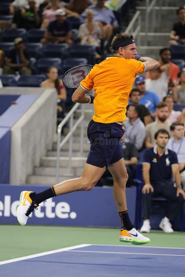 Campione Juan Martin Del Potro del Grande Slam dell'Argentina nell'azione durante la sua di US Open partita 2018 del giro in prim fotografia stock libera da diritti