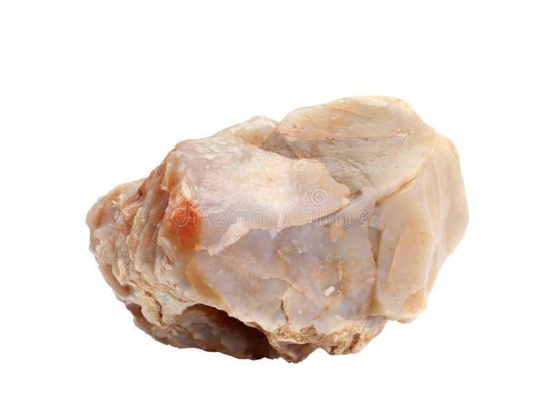 Campione naturale del chalcedony - forma di cryptocrystalline della silice su fondo bianco fotografia stock libera da diritti