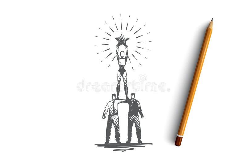 Campione, successo, vittoria, HCI, concetto di automazione Vettore isolato disegnato a mano illustrazione vettoriale