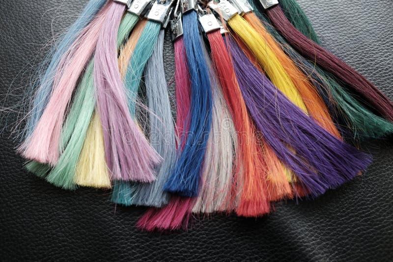 Campioni dei capelli della gamma di colori fotografie stock libere da diritti