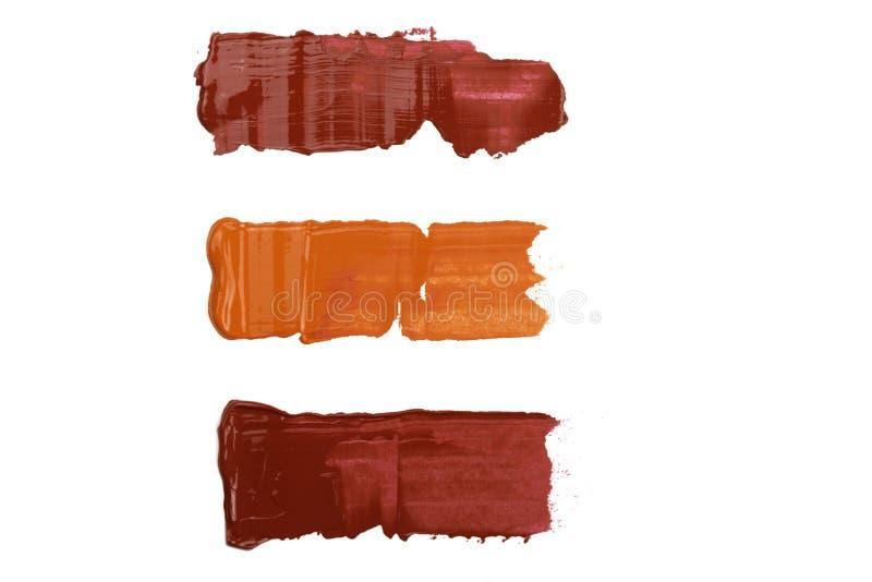 Campioni della pittura di Acryl isolati su fondo bianco fotografia stock libera da diritti