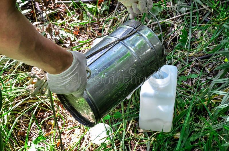 Campioni della presa di acqua per prova di laboratorio Il concetto - analisi di purezza dell'acqua, ambiente, ecologia fotografie stock